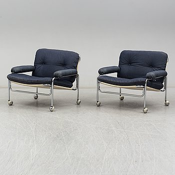A pair of Swedish 1970s armchairs.