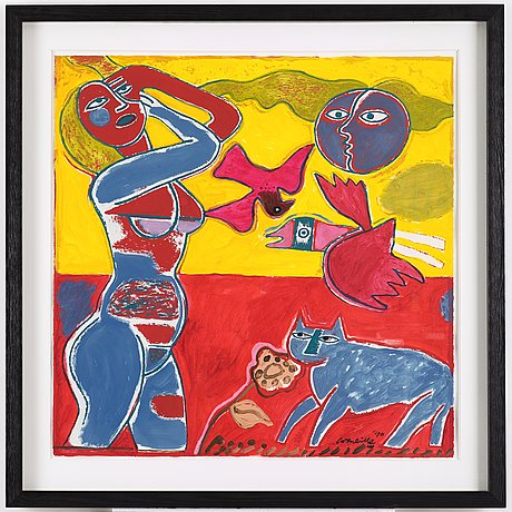 Beverloo corneille, gouache, acrylic, mixed media and painted print on paper, signed corneille and dated -90.