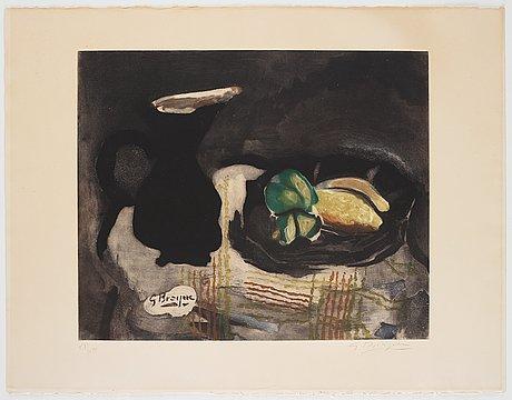 """Georges braque after, """"pichet noir et citrons""""."""