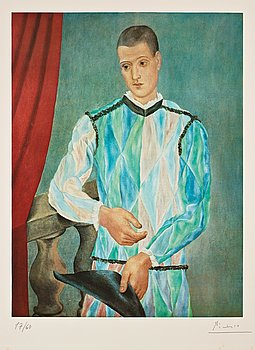 """667. Pablo Picasso, """"Harlequin"""", from: """"Barcelona suite""""."""