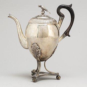 JOHAN CARLSSON, an Empire silver coffee pot from Norrköping, 1822.