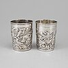 Two russian 18th century silber beakers, unidentified makers mark, moscow.