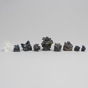 Nine Chinese figures, lapis lazuli and rock chrystal, modern production.