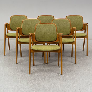 A set of six arm chairs by Hans Olsen, Gärsnäs.