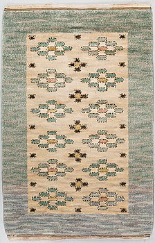 "A CARPET, ""Skissmattan"", knotted pile, ca 159,5 x 101,5 cm, signed MMF."