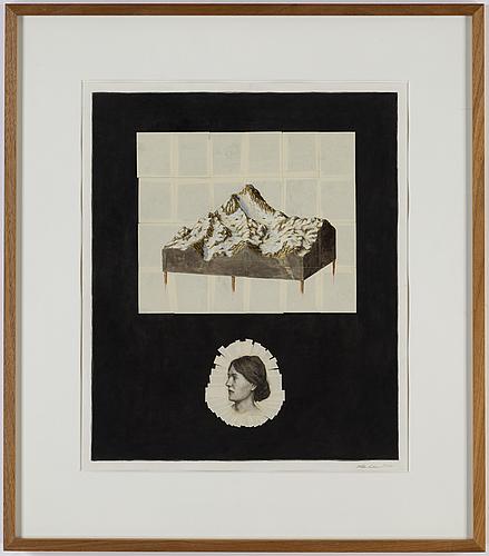 Willem andersson, collage, olja och tusch på papper, signerad och daterad 2010.