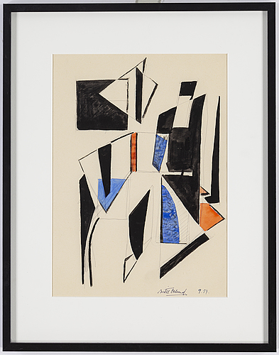 Bertil Öhlund, watercolor and ink, signed and dated 9.57.