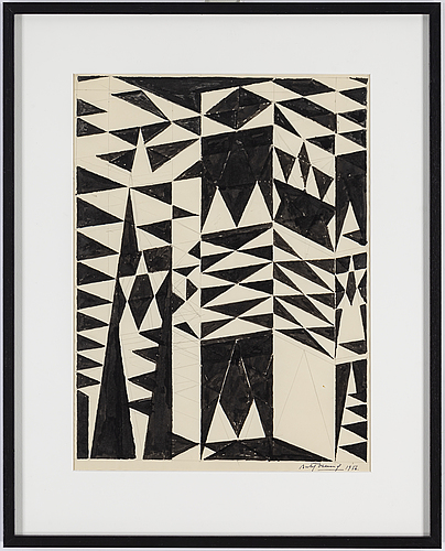 Bertil Öhlund, pencil and indian ink on paper, signed and dated 1956.