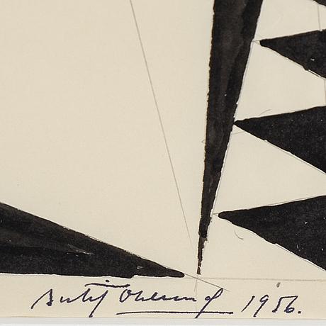 Bertil Öhlund, blyerts och tusch på papper, signerad och daterad 1956.