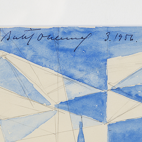 Bertil Öhlund, watercolor and pencil on paper, signed and dated 3.1956.