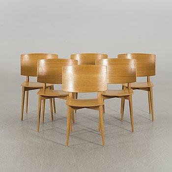"JONAS LINDVALL, a set of six chairs  ""Oak"", Skandiform, 2000's."