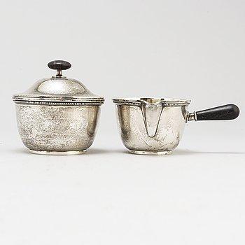 Borgila sterlingsilver sugar bowl and creamer.