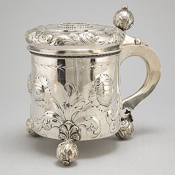 A Baroque style silver tankard with Swedish import marks.