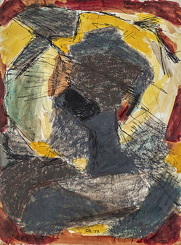 Olle bonniÉr, watercolor, crayon and ink, signed and dated -57.