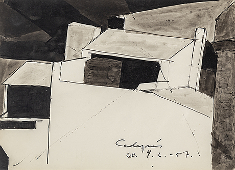Olle bonniÉr, watercolor, signed and dated cadaqués 4.6.-57.