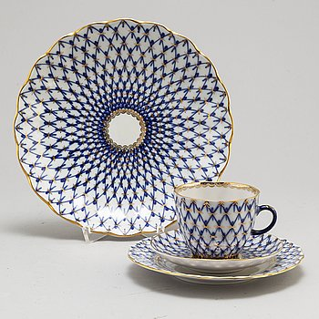 A 33-piece 'Cobalt net' porcelain coffee service from Lomonosov, Russia.
