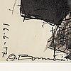 Olle bonniÉr, tusch, signerad och daterad 16.6-57.