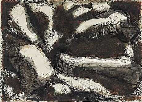 Olle bonniÉr, ink on paper, signed and dated 16.6 57