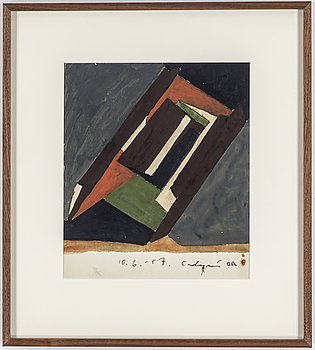 OLLE BONNIÉR, watercolor on paper, signed and dated Cadaqués 10.6.-57.