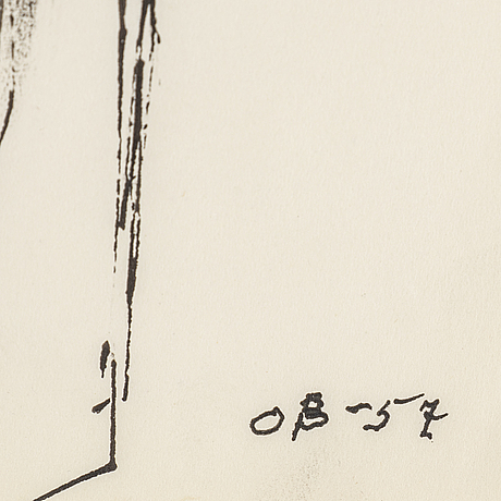 Olle bonniÉr, ink on paper, signed and dated -57.
