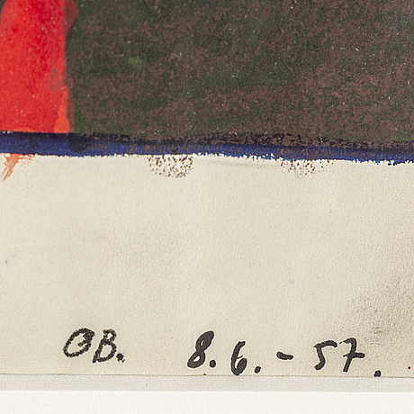 Olle bonniÉr, watercolor on paper, signed and dated 8.6.-57.