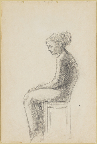 Helene schjerfbeck, teckning, ej signerad, utförd troligen kring 1878 1881