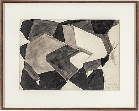 Olle bonniÉr, ink on paper, signed and dated 19.10-57.