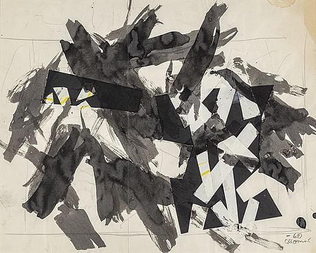 Olle bonniÉr, watercolor and collage, signed and dated -60.