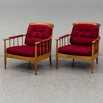 """KERSTIN HÖRLIN-HOLMQUIST, fåtöljer, ett par, """"Skrindan"""", OPE-möbler, 1900-talets andra hälft."""