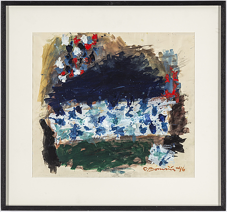 Olle bonniÉr, gouache on paper, signed and dated -46.
