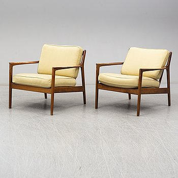 A pair of USA-75 easy chairs by Folke Ohlsson, DUX.