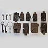 A set of nine cast iron locks, 19th century
