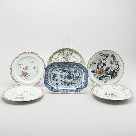 Kinaporslin, 6 st, mestadels qianlong (1736 95)