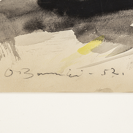 Olle bonniÉr, watercolor on paper, signed and dated -52.