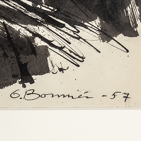 Olle bonniÉr, gouache, signerad och daterad -57.