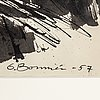 Olle bonniÉr, gouache on paper, signed and dated -57.