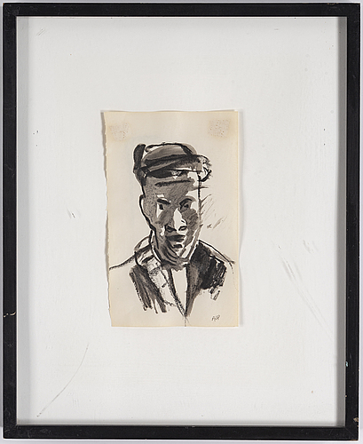 Arvid pettersen, mixed media on paper, signed ajp