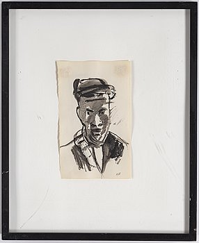 ARVID PETTERSEN, mixed media on paper, signed AJP.