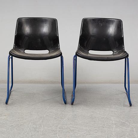 Svante schÖblom, seven stackable 'clipper' chairs from overman, 1982