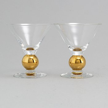 GUNNAR CYRÉN, 12 Nobel champagne/martini glasses from Orrefors.