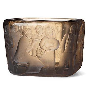 "25. Gunnel Nyman, (born Gustafsson), ""Kalatorilla market"", a cut, engraved and sand blasted smoked glass bowl, Riihimäki, Finland 1937."