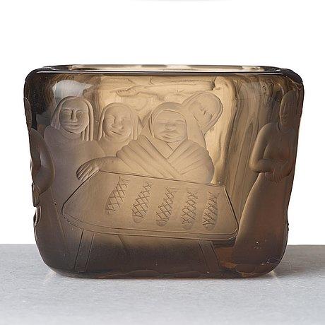 "Gunnel nyman, (born gustafsson), ""kalatorilla market"", a cut, engraved and sand blasted smoked glass bowl, riihimäki, finland 1937."