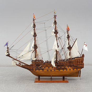 A late 20th century wooden ship model.