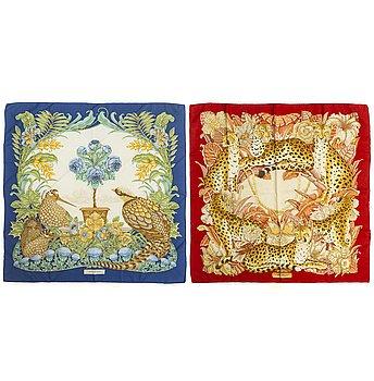 SALVATORE FERRGAMO, two silk scarves.