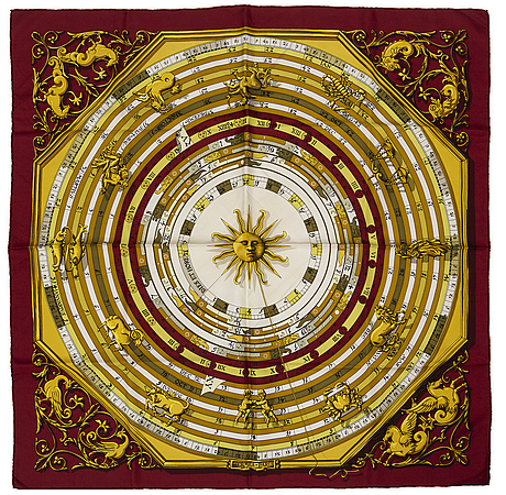 "HermÈs, scarf, ""dies et hores"" (astrology), issued 1963"