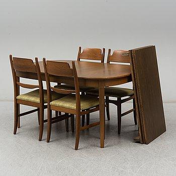 """CARL MALMSTEN, matsalsgrupp, 5 delar, """"Calmare nyckel"""", Åfors möbelfabrik."""