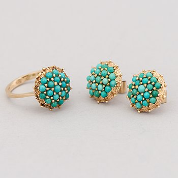 RING and EARRINGS, turqouise, 14K gold. 1975.