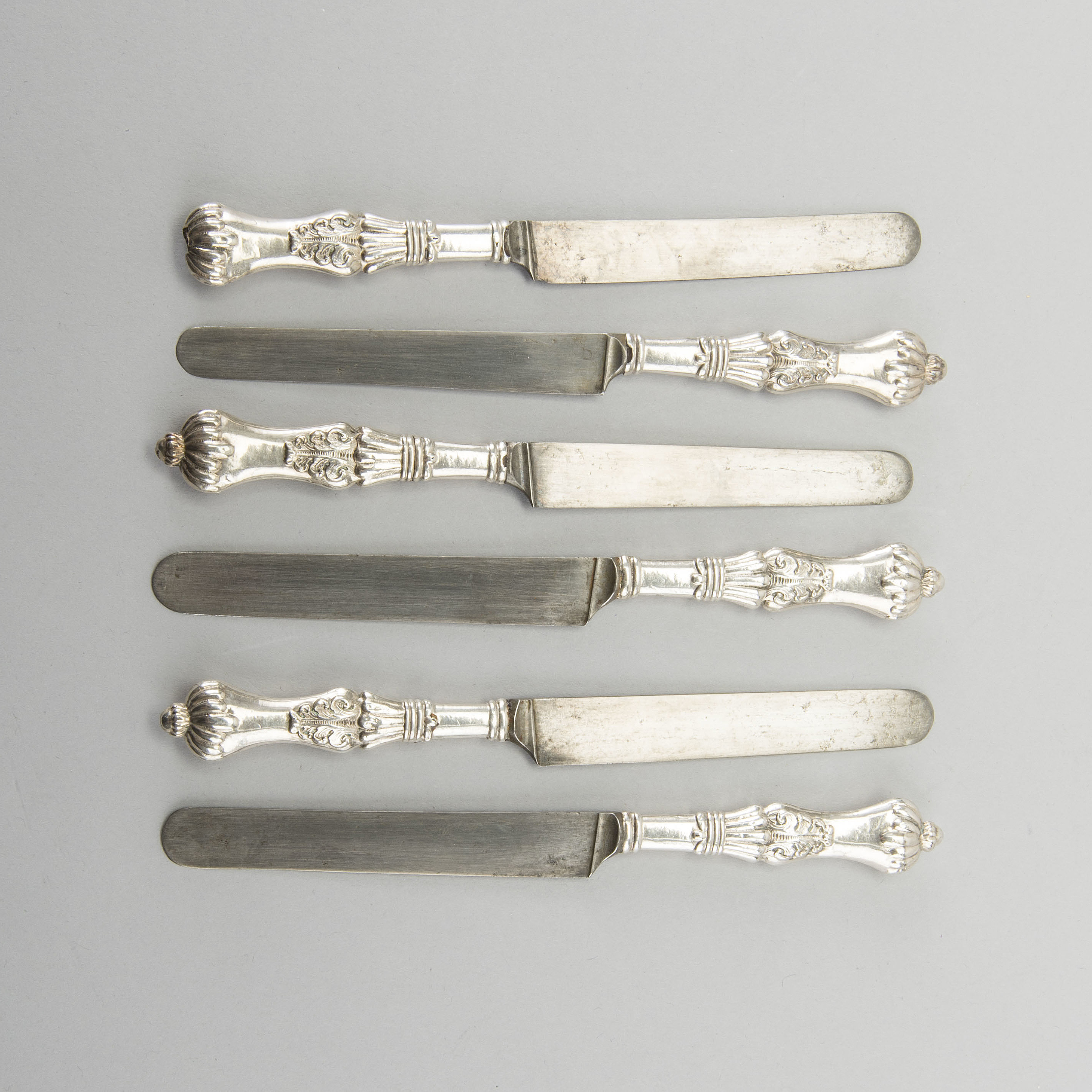 Eleven 19th century silver knifes  Total weight incl steel