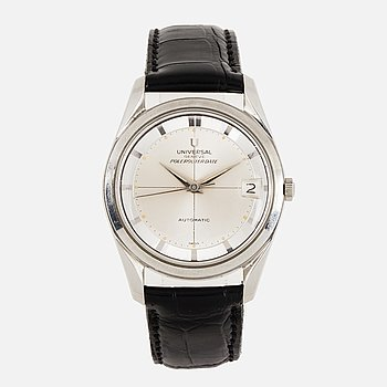 UNIVERSAL, Genève, Polerouter date, wristwatch, 34 mm.