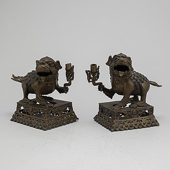 A pair of incence holders 20 th century China.